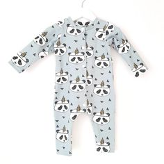 Baby one piece panda print - bohemian sleepsuit - unisex boho pajamas - toddler mint blue playsuit - baby ibiza jumpsuit Tricot Fabric, Bear Print, Mint Blue, Organic Baby Clothes, Home Outfit, Kids Christmas, Baby Bodysuit, Ibiza