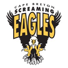 Cape Breton Screaming Eagles Primary Logo (1998) - An Eagle coming in for the attack with team name