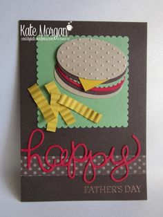 Cards by Kate, Happy Father's Day Burger & Fries Punch Art DIY…