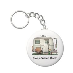 Cute RV Vintage Glass Egg Camper Travel Trailer Key Chains