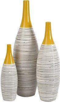 New IMAX Andean Multi Glaze Vases [Set - Fine Ceramic Vases Yellow Glaze, Hand-Painted Neutral Stripes, Home Decor Accessories online - Newtrendylook Home Decor Accessories, Decorative Accessories, Decorative Vases, Modern Ceramics, Pottery Painting, Vases Decor, Ceramic Vase, Clay Vase, Dot And Bo