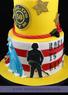 """The Springsteen side of the gym/beach/Bruce cake. A cake featuring Bruce Springsteen would not be complete without """"Born to Run!"""""""