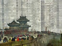 XIAN CITY WALLS – For centuries Xian was contained within huge stone walls. Recent explosive growth has swelled the population to over six million with high rise buildings not only surrounding the walls of the old city but covering the land as far as the eye can see in every direction. Painting by artist Richard Neuman represented by Two Bananas Art. Giclee $21.00 #photopainting #xian #china #citywall #travelpainting #impressionism