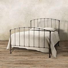 View the Evanston Full Bed from Arhaus. The simple lines of our custom-crafted iron Evanston bed mimics the style of an antique Victorian bed. Wrought Iron Bed Frames, Victorian Bed, Cabin Interiors, Stylish Beds, Full Bed, Bed Mattress, Bedding Shop, Headboards For Beds, Bedroom Furniture