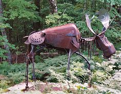 Moose in the garden metal art...