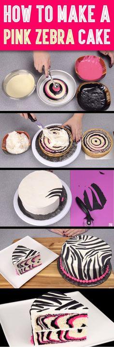 How to make a pink zebra cake DIY