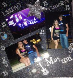 LMFAO Concert - Scrapbook.com Needing some ideas for my BSB concert photos!! I like the glitter paper.