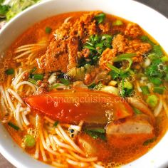 Bun Rieu - Rice noodles in a crab and tomato broth
