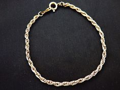 """Vintage Chain Mail Link Bracelet Gold Tone Delicate Costume Jewelry 7.5"""" #Chain"""