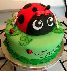 Ladybug Birthday Party Food Ideas and Recipes, Cakes and Cupcakes Bug Birthday Cakes, Birthday Cake With Photo, Fondant Cakes, Cupcake Cakes, Kid Cakes, Rose Cupcake, Ladybird Cake, Ladybug Cakes, Ladybug Cake Pops