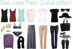 See Jules Pack: Dubai edition. How to pack for a trip to Dubai, UAE. Dubai Vacation, Dubai Travel, Dubai Trip, Travel Wardrobe, Capsule Wardrobe, Dubai Fashion, What To Pack, World Traveler, Holiday Outfits