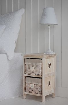 Side View To Show The Cut Out Hearts On The Small 25cm Bedside Table