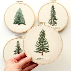 Contemporary Christmas decor idea- hang these embroidered trees on string and hang as garland decor ( Hand Embroidery Patterns, Diy Embroidery, Cross Stitch Embroidery, Embroidery Designs, Christmas Embroidery, Embroidered Christmas Ornaments, Needlework, Textiles, Douglas Fir