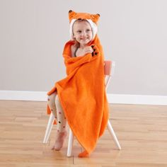 Between the splashing  and the bubble beards, bath time can get pretty wild.  Luckily these hooded towels are just as wild.  They feature easy-to-match color schemes and charming animal faces to keep little ones dry from head to toe (or paw).   Personalize them with a name for a special touch.