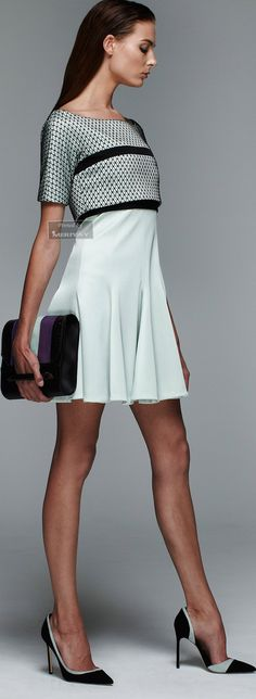 J. Mendel Resort 15: aqua & black dress, matching shoes & handbag.