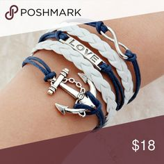 Nautical Anchor Love Bracelet ⚓☉😎 Cute bracelet. Navy and white. Jewelry Bracelets