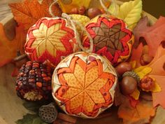 Autumn Leaves and Acorns Ornaments by PieceAndContentment on Etsy, $35.00