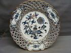 Reticulated Meissen Hand Painted Floral Gold Gilded Cabinet Plate Blue Onion #4