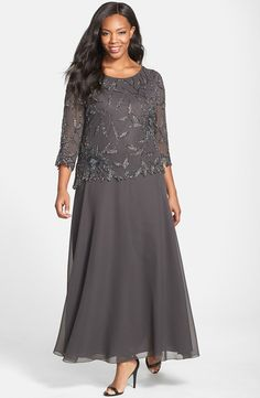 Plus Size Women& J Kara Embellished Mock Two-Piece Gown - Dresses Uk, Plus Size Dresses, Evening Dresses, Fashion Dresses, Formal Dresses, Beach Dresses, Halter Dresses, Ivory Dresses, Robes D'occasion