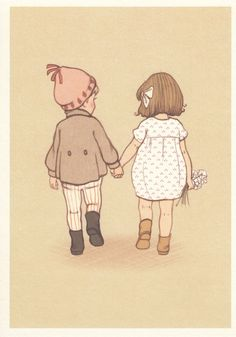 Image result for boy and girl holding hands drawing