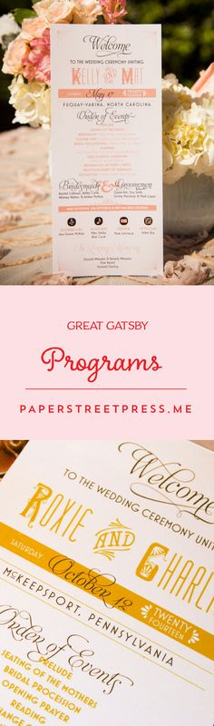 Straight from the era of gangsters, oil wick cooking stoves, jazz music, and flapper girls, these wedding programs are the cat's pajamas. $1.19+ from Paper Street Press #great #gatsby #wedding #programs