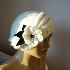 Excited to share this item from my shop: Christmas Gift, Hand Knit Hat, Knit Ivory Beanie, Trendy Women Hat, Girl Beanie, Beanie Hats, Buy Clothes Online, Dresses Online, Lace Gloves, Winter Mode, Floral Kimono, Ivoire, Hand Warmers