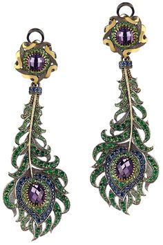 Peacock inspired earrings of amethysts, sapphires and demantoid garnets mounted in 14K gold; Russian, Axenoff Jewelry.