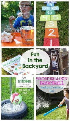 Fun in the Backyard - games, kids activities, zip line, water balloon baseball, s'mores, printables... lots of summer entertainment!