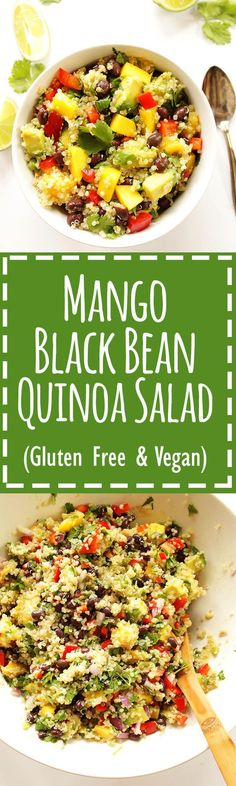 Mango black Bean Quinoa Salad - A refreshing summertime salad packed with mango, avocado, and red pepper! EASY recipe to make, comes together in 25 minutes. Served cold, perfect for summer parties. Filling enough for a meal, 10 grams protein, or great as a side salad. Vegan/Gluten Free.