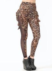 ruffled leopard print leggings
