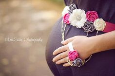 Pink Gray and Ivory Cream  Maternity Sash by darlingbowtique, $26.99