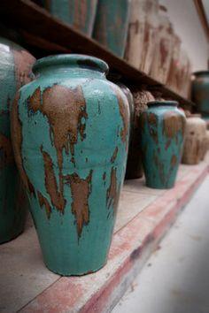 Rustic turquoise Glazed Pots | outdoor decor