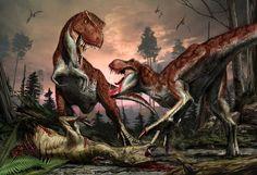 Tyrannosaurus and Thescelosaurus – Tempera and digital 2010 by Davide Bonadonna
