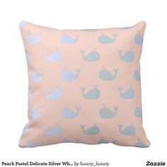Peach Pastel Delicate Silver Whales Throw Cushions
