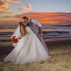 mexican wedding sunset beach