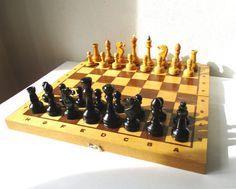 Wooden Chess Set Large Vintage Complete Soviet by MerilinsRetro