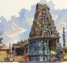 Detail of an illustration of Sri Sithi Vinayagar Temple, Sitiawan, by the artist Lee Weng Fatt. Watercolor Sketchbook, Watercolor Artwork, Cool Sketches, Amazing Sketches, Indian Temple Architecture, Buddha Art, Art Corner, Urban Sketchers, Traditional Paintings