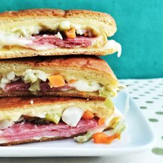 -Salami-Mozzarella Grilled Cheese-For this, add salami, mozzarella, and finely chopped giardiniera (pickled Italian veggies). Mini Grilled Cheeses, Grilled Cheese Recipes, Cheese Appetizers, Sandwich Recipes, Delicious Sandwiches, Wrap Sandwiches, Cheesy Recipes, Dinner Recipes, Appetizer Recipes