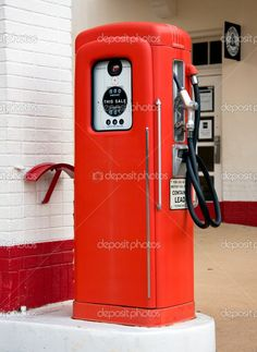 old gas pumps | Close up of an old vintage gas petrol pump in place when gas was very ...