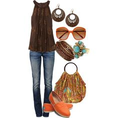 orange and brown by cswope on Polyvore