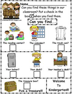 "Little Warriors: Kindergarten Orientation/Open House Treasure Hunt-Freebie! What a cute idea for "" meet the teacher"" Back To School Night, 1st Day Of School, Beginning Of The School Year, School Fun, School Stuff, School Starts, School Games, School Tips, Summer School"