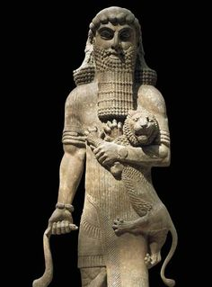Gilgamesh- like Ashurbanipal, is also fond of holding lions. In the other hand he chokes the snake that ate his plant.