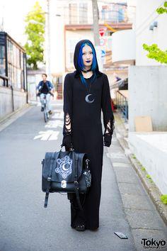 Blue-Haired Harajuku Girl in All Black Killstar Hooded Dress & Yosuke Platform Gladiator Sandals