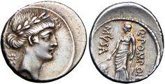 Ancient Coins - Roman Republic , Q. Pomponius Musa. 56 BC., Urania — Muse of Astronomy.