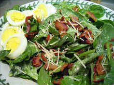 Spinach Salad with Mustard-Bacon Dressing