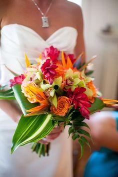 Brides Bouquet, cymbidium orchids, orange roses, birds of paradise, red ginger