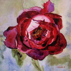 Cherry Liqueur Painting  watercolour PeonyCeramic by SobolevaArt, $14.90