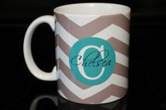 Coffee Mug  Coco Chevron with Turquoise by CreateItYourWay on Etsy, $19.99