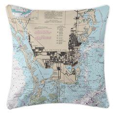 Nautical Chart St. Petersburg, FL Throw Pillow