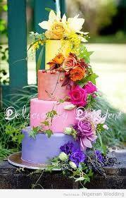 Beautiful wedding cake with multi colors!
